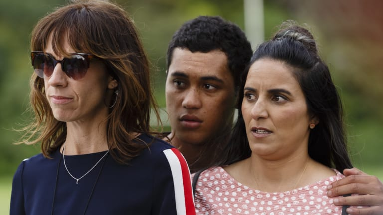 Writer/director/actors Jackie van Beek, left, and Madeleine Sami with James Rolleston in The Breaker Upperers.