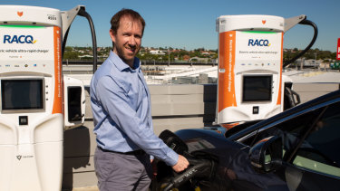 Chargefox chief executive Marty Andrews at Toombul Shopping Centre's ultra-fast electric car charging station.
