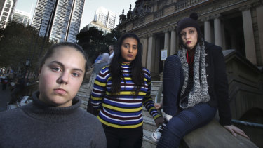 Sixteen-year-old Milly Gerstle, 21-year-old Kripa Krithivasan and Ginette Villasmil, 23, have contributed to Plan International's map of Sydney street harassment locations.