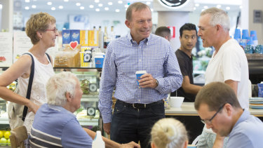 Tony Abbott meets voters at a Mosman shopping centre on Saturday.