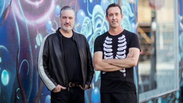 Spencer Tunick, left, and John Lotton, scouting the Chapel Street Precinct in January.