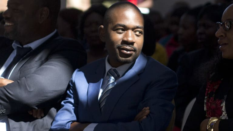 Zimbabwe opposition challenger Nelson Chamisa participates in a Sunday church service in Harare.