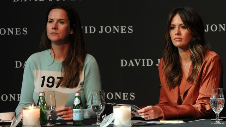 Thelma McQuillan (L) and Jesinta Franklin at the David Jones spring summer 2017 show casting in Melbourne.