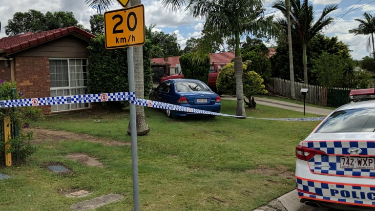 The scene outside the Ammons Street house in Browns Plains, where a 10-year-old boy was shot during the Boxing Day home invasion.