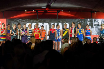 Team captains at the AFLW season launch earlier this month.