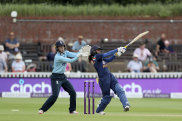 India Women's Mithali Raj, right, in action against England during the One Day International cricket match at the The County Ground in Taunton, England, Wednesday June 30, 2021. (David Davies/PA via AP)