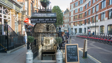 Entrance to The Attendant cafe in Foley Street, London.