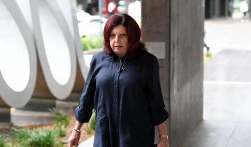 Kim Dorsett arriving at Brisbane Magistrate's Court on Monday morning.
