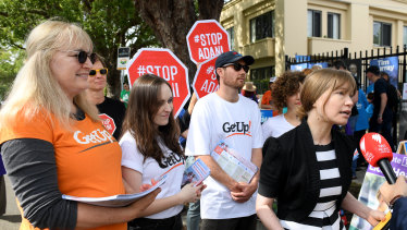 GetUp campaigners and campaign director Miriam Lyons during last year's Wentworth byelection.