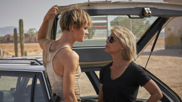 Mackenzie Davis (left) and Linda Hamilton face off in Terminator: Dark Fate.