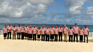 Pacific leaders pose for the traditional group shot.