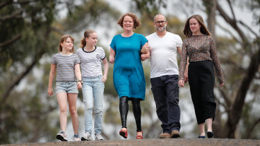 Mandy McCracken, centre, pictured with her family from left to right: daughter Tess, 10, Isobel, 13, husband Rod and 15-year-old Samantha.