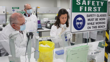 Prime Minister Scott Morrison at AstraZeneca's laboratory in Sydney last month.