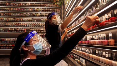 Nail technicians at Broadway Shopping Centre. Mirvac Retail has mandated masks be worn by all their staff in shopping centres as part of their health and safety precautions in response to the ongoing COVID-19 pandemic.