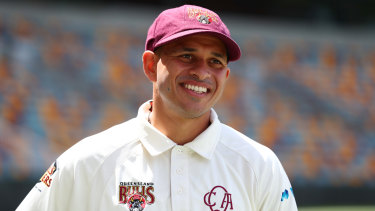 Usman Khawaja is 30 not out for Queensland at stumps on Sunday.
