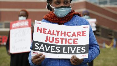Rehabilitation nurse Edith Ihejirika outside Jacobi Medical Centre in the Bronx. Nurses demanded adequate Personal Protective Equipment.