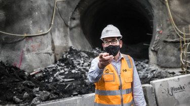 Premier Daniel Andrews underground at the State Library station last week.