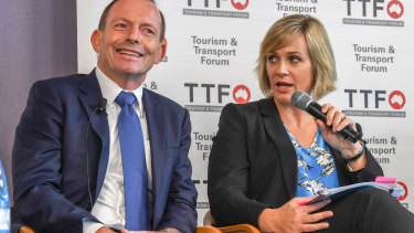 Tony Abbott with independent Warringah challenger and climate action advocate Zali Steggall at a forum last month.
