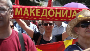 People protest against the deal between Greece and Macedonia in the southern Macedonia.