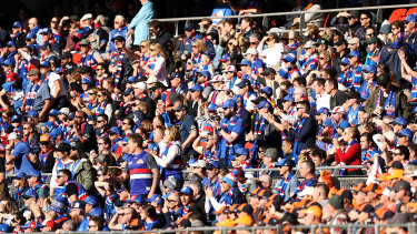 Greater Western Sydney Giants and the Western Bulldogs fans in September 2019.