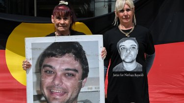 The family of Nathan Reynolds ... his grandmother Toni Reynolds (left) and Nathan's mother Jodie Reynolds outside the Coroner's Court at Lidcombe.
