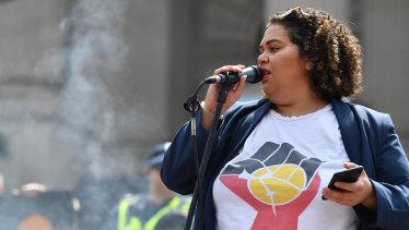 Tarneen Onus-Williams at last year's protest.