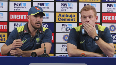 One-day captain Aaron Finch with Andrew McDonald at a press conference in Mumbai ahead of their three-match one-day international series against India.