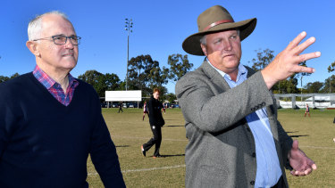 Malcolm Turnbull with LNP candidate for Longman Trevor Ruthenberg in Caboolture on Saturday.