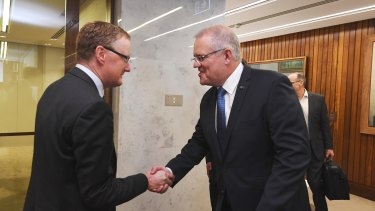 Scott Morrison, Josh Frydenberg meet with the Reserve Bank Governor Philip Lowe.