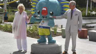 Camilla and Prince Charles pose with the Commonwealth Games mascot, Borobi, on April 5.