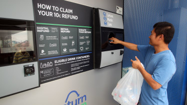 A container-deposit recycling booth in Sydney.