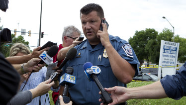 Maryland Police spokesman Lieutenant . Ryan Frashure speaks to the media at the scene.