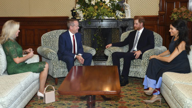 The Duke and Duchess of Sussex meet with Opposition Leader Bill Shorten and his wife Chloe.