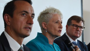 Wentworth candidates Dave Sharma, Kerryn Phelps and Tim Murray.