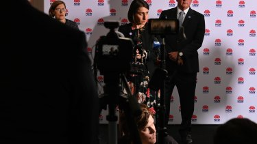 NSW Premier Gladys Berejiklian at a press conference today.