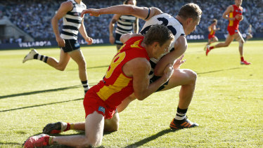 In the spotlight: Nick Holman's tackle on Mitch Duncan.