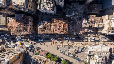 An aerial view of heavily damaged buildings in Beirut, Lebanon.