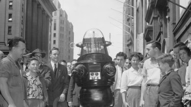 """The """"polite and witty"""" Robby The Robot visits Sydney to promote the M.G.M. film Forbidden Planet on 16 October 1956."""