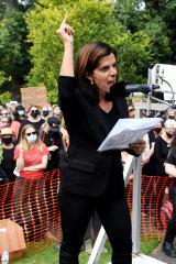 Former MP Julia Banks spoke at the Melbourne rally.