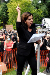 Former MP Julia Banks spoke at the Melbourne rally.