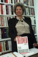 Toni Morrison with her novel Beloved in 1987.
