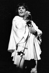 "Freddy Mercury in the Zandra Rhodes wedding top he ""fell in love with"" in her studio."