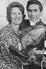 Emotional day ... Jockey Maurice Logue is congratulated by Pam Green, the mother of David Green.
