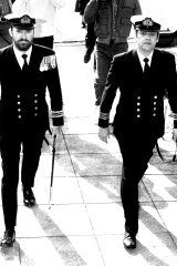 Lieutenant-Commander David Levine QC (right) arrives at the court martial of a Navy officer in 1985.