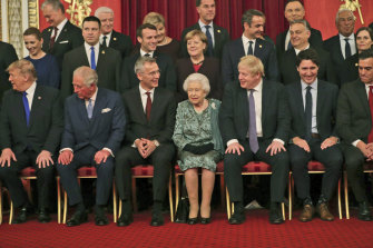 Queen Elizabeth II hosts NATO leaders on the 70th anniversary of the alliance during a reception at Buckingham Palace.