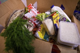 One of the food relief boxes prepared by the Muslim Women's Council of Victoria.
