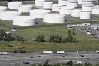 Oil storage tanks owned by the Colonial Pipeline Company in Linden, New Jersey, that transports fuels along the East Coast says it had to stop operations because it was the victim of a cyberattack.