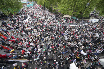 A protest in support of Palestinians in London last Saturday.