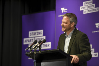 An upbeat Chief Health Officer Professor Brett Sutton announcing 21 new cases on Saturday.