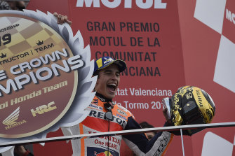 Marc Marquez celebrates race victory and the 2019 world championship in Spain.